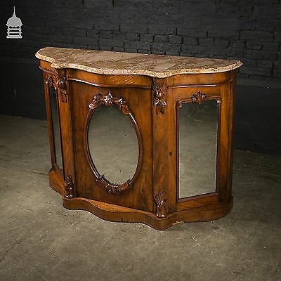 19th C Marble Topped Mahogany Credenza with Mirrored Doors and Key