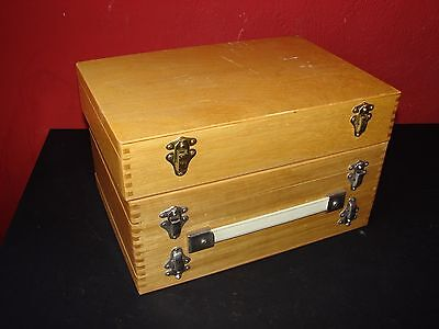 2 Wooden Projector Slide Storage Boxes