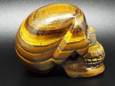 320g CRYSTAL SKULL GOLDEN TIGERS EYE GEMSTONE CARVING REIKI HEALING UNUSUAL GIFT