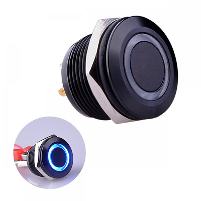 Ulincos Momentary Pushbutton Switch U19D1 1NO SPST Black Metal Shell with Blue L