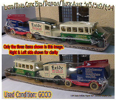 1900s 3-PAK Ford/Buss/Delivery Van/Parcel Truck-LLEDO/ DAYS GONE Sn3/Sn2/1:64