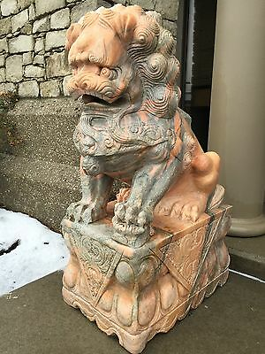 "Rare pair of big Chinese stone guardian foo dogs/ foo lions 40"" tall"