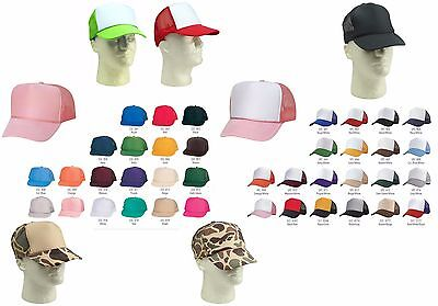 Trucker Hat Baseball Cap Mesh Retro Caps Blank Plain Hats AND Kid's Youth's Caps