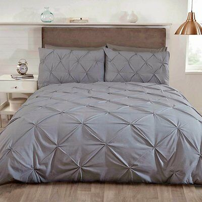 Silver Grey Pleated Duvet cover bed Set Pintuck Detail Luxury Bedding S/D/K/SKSt