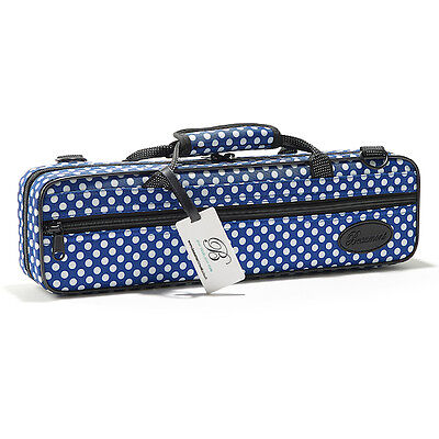 Beaumont Flute Case Blue Polka Dot Colourful Hard Flute Case Lightweight Student