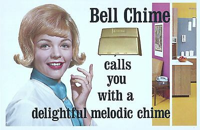1960's Bell Telephone Advertising sign Bell Chimes Cardboard Poster 7x10