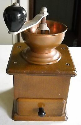 Vintage Rustic Wooden And Copper Coffee Grinder Made In Western Germany