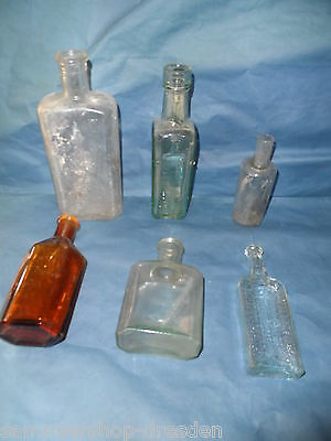 24125 6x Apothekenflasche 1900 11-19cm pharmacy bottle AD. Richter Paterson