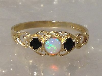 9ct GOLD OPAL AND SAPPHIRE SET RING - SIZE O 1/2