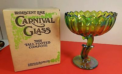 Vintage Indiana Glass Iridescent Lime Carnival Tall Footed Compote 7055 W/Box