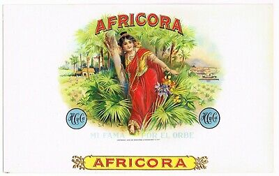 Cigar Box Label Vintage Inner Original Embossed Africora C1930S Classic