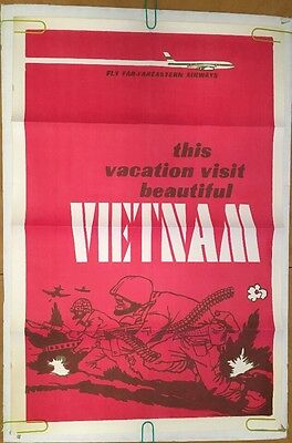 This Vacation Vietnam Vintage Blacklight Poster Anti-War Peace Pin-up 1960's Fly