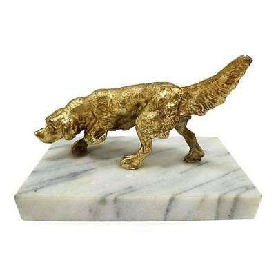 Antique Paperweight Figure Pointer Retriever Hunting Dog Statue on Marble base