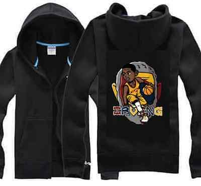 Kyrie Irving #2 Kids Boys Youth Jersey Zip Hoodie Jacket Outwear Cleveland Black