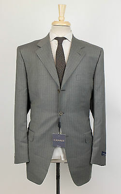 New CANALI Gray Striped Wool 3 Button Suit Size 52/42 R Drop 4 $2100