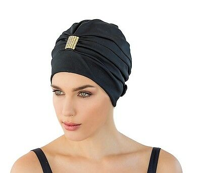 Ladies Swimming Hat/Cap/Turban with Adjustable Strap.   Black New By Fashy 3498