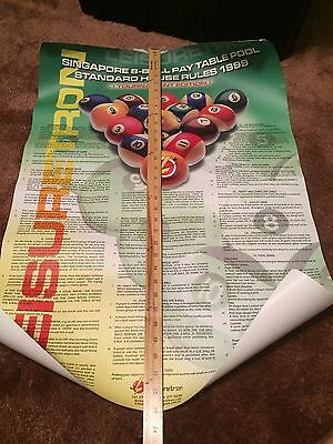 BILLIARD POOL TABLE EIGHT BALL RULES POSTER, Singapore 1999 - LAMINATED