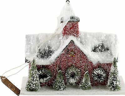 Red Christmas Putz Barn Stable Ornament Primitive Colonial Paper Mache