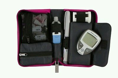 Myabetic Banting Diabetic Wallet Case Glucometer Test Storage Compact PINK