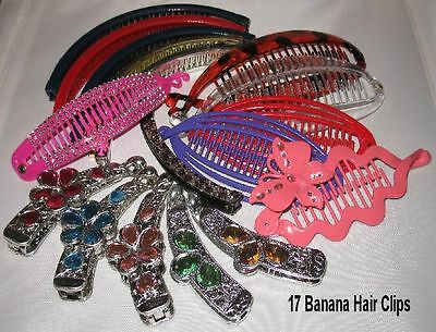 Closeout! 17 Piece Banana Hair Clips Mix Styles & Lengths Ships From Usa