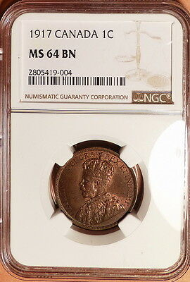 1917 Canada 1c, NGC graded MS64 BN, Very Lustrous, Hints of Red