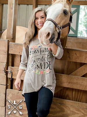 Southern Grace Fearfully, Wonderfully Made on Tan 3/4 Sleeve (XLarge)