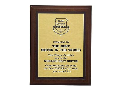 Aahs Engraving Worlds Greatest Plaques (Best Sister In The World)