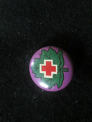 Vintage Red Cross Maple Leaf Pin  (Purple)