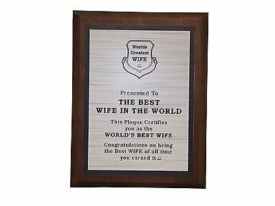 Aahs Engraving Worlds Greatest Plaques (Best Wife In The World)