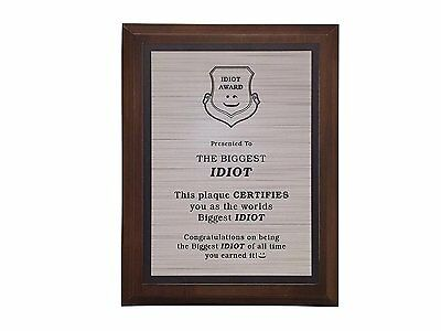 Aahs Engraving Worlds Greatest Plaques (Biggest Idiot)
