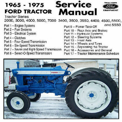 Ford Tractor 2000 3000 4000 5000  3400 3500 3550 4400 4500 5500 Shop Manual CD !