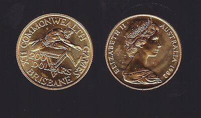 1982 Australian XIII Commonwealth Games Brisbane Gold $200 Coin in Green Wallet
