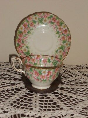 Vintage Crown Staffordshire Maytime Pink And White Floral Tea Cup and Saucer