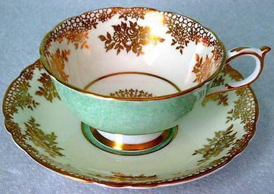 Paragon Fancy Gold Green & Cream Vintage Fine Bone China Cup And Saucer