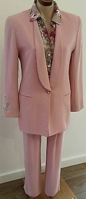 Retro 1990s Covers 3 pce MUSK PINK Pants Skirt Jacket Business Power Suit size S