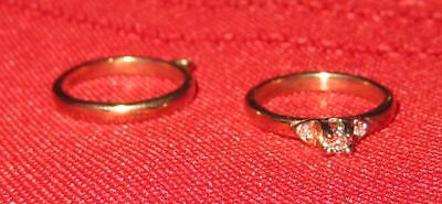 2 Charms 10 K Solid Yellow Gold Vintage Engagement Diamond Ring and Wedding Band