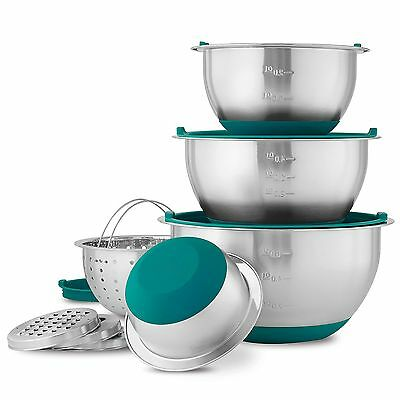 Wolfgang Puck 12 Pc Stainless Steel Mixing Bowl Set, Teal Lids