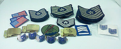 Lot Of Usaf Rank Insignia Patches And Pins Military Belt Buckles & Flag Patches