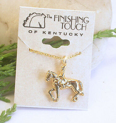 Horse & Western  Jewellery Jewellry Ladies Dressage Horse Rider Necklace Gold