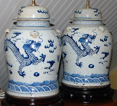 PAIR Chinese Blue & White DRAGON Temple Jar LAMPS Vase Porcelain Ginger Jar Ming