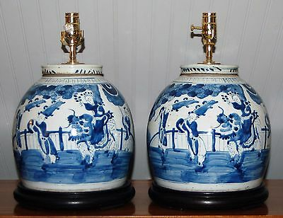 PAIR Large CHINESE Blue & White Ginger Jar LAMPS Vase Porcelain Ming Qing