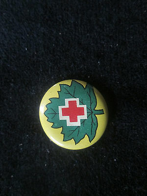 Vintage Red Cross Maple Leaf Pin  (Yellow)