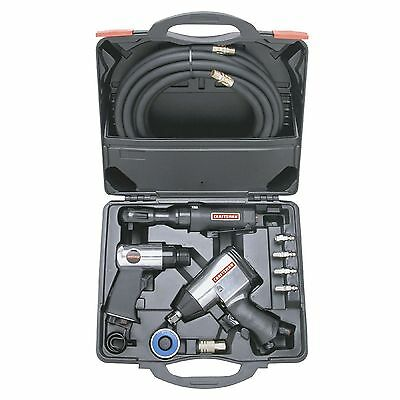 Air Tool Set 10pc High Torque Impact Wrench Ratchet Compressor Hammer Hose Kit
