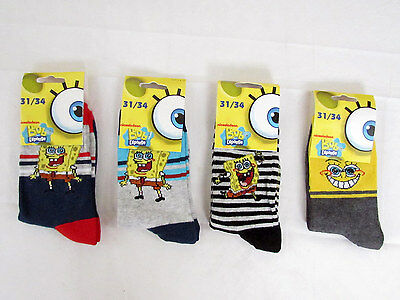 4 Calzini Bambino Sun City Spongebob In Caldo Cotone - Kids Socks Art. Nh4941