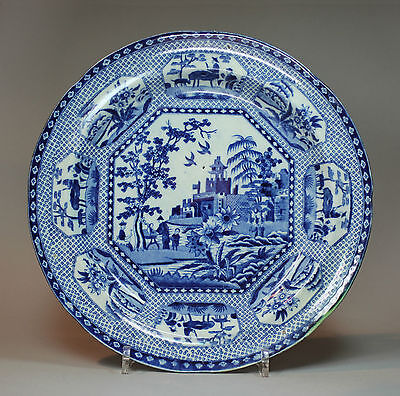 Antique English blue and white transferware plate, circa 1820