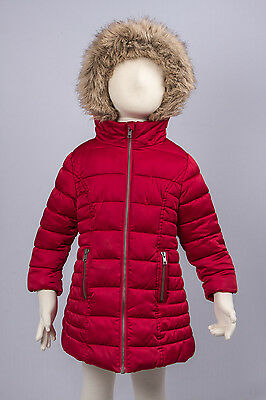 NEXT Girls  thick quilted red satin coat with fur trimmed hood age 3 years