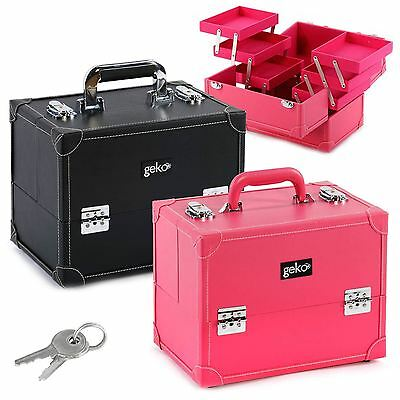 Vanity Case Cosmetic Makeup Nail Beauty Box Storage Faux Leather Pink Black