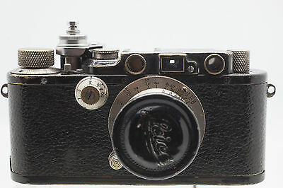 Leica III black + Elmar 3.5/50mm 120125 serial from 1933 with leather case