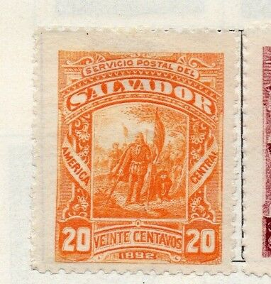 Salvador 1892 Early Issue Fine Mint Hinged 20c. 126303