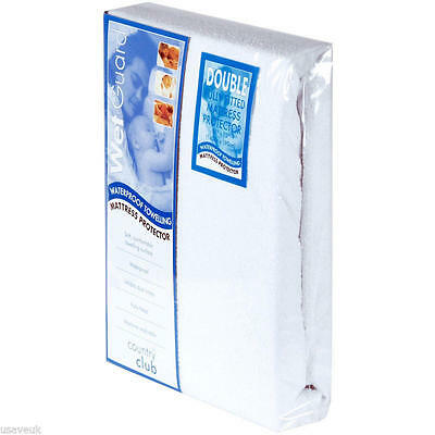 """WATERPROOF TERRY TOWELLING DOUBLE BED FULLY FITTED MATTRESS PROTECTOR 55"""" x 75"""""""